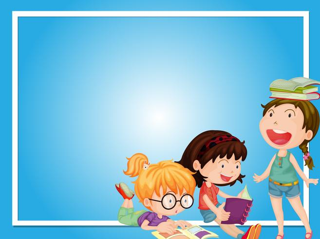 Border template with three girls reading book