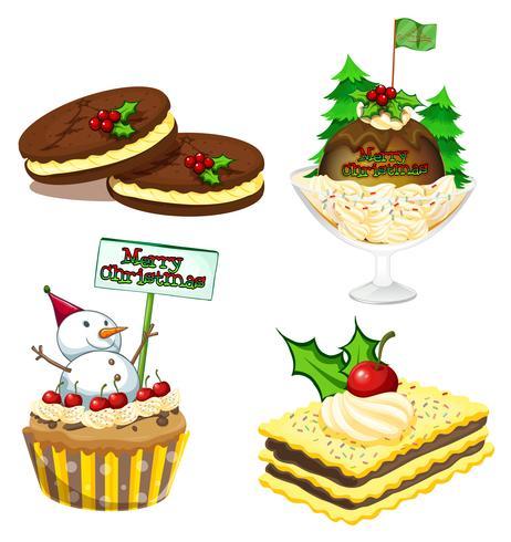 Quatre desserts pour Noël vecteur