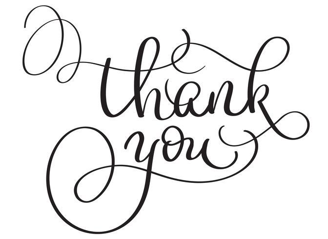 Vecteur dessiné à la main Merci texte sur fond blanc. Illustration de lettrage de calligraphie EPS10