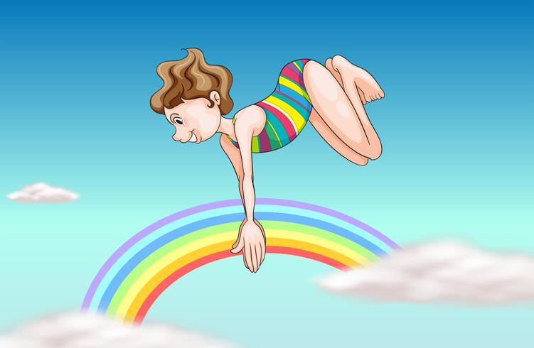 Una chica buceando por el cielo.