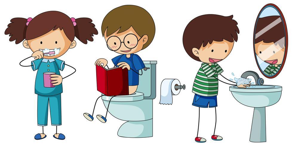 Kinder, die unterschiedliche Routine im Badezimmer machen