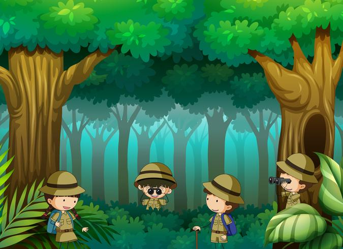 Kinderen die het bos verkennen