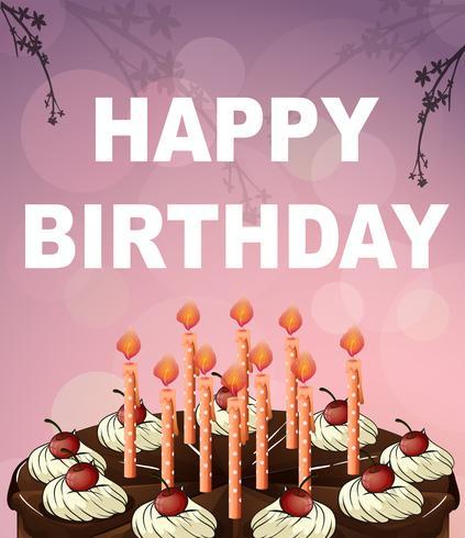 Glückwunschkartenschablone mit Schokoladenkuchen