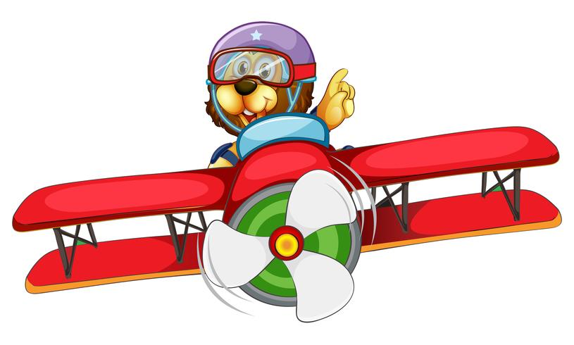 A lion riding vintage airplane