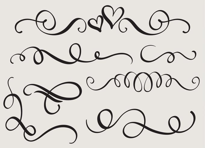 set kunst kalligrafie bloeien van vintage decoratieve slierten voor ontwerp. Vector illustratie EPS10