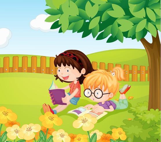 Girls reading books vector