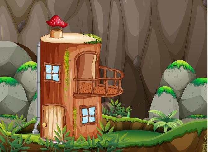 Casa di tronchi in natura vettore
