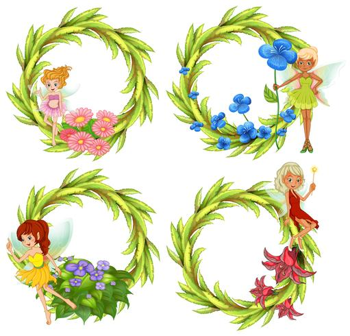 Sjabloonontwerp met feeën en bloemen