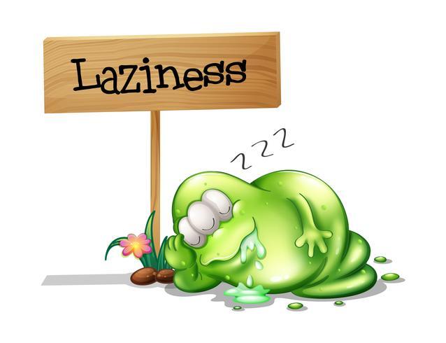 Un mostro pigro che dorme vicino all'insegna di legno