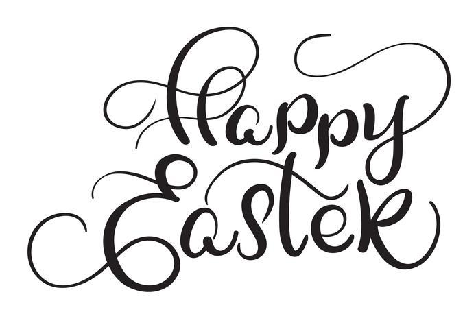Palabras felices de Pascua en el fondo blanco. Ilustración de vector de letras de caligrafía EPS10