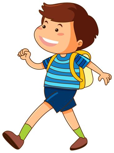 Glad pojke med gul ryggsäck