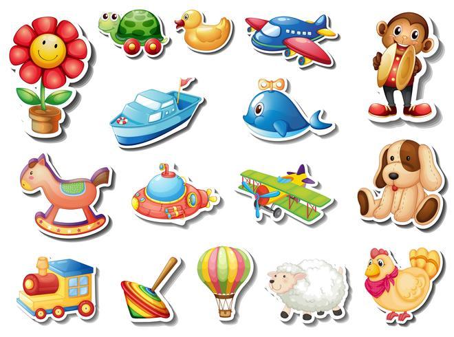 Sticker set van veel speelgoed