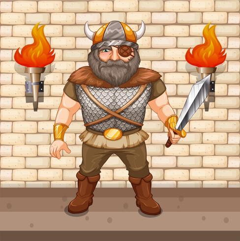 Guerreiro Viking segurando a espada
