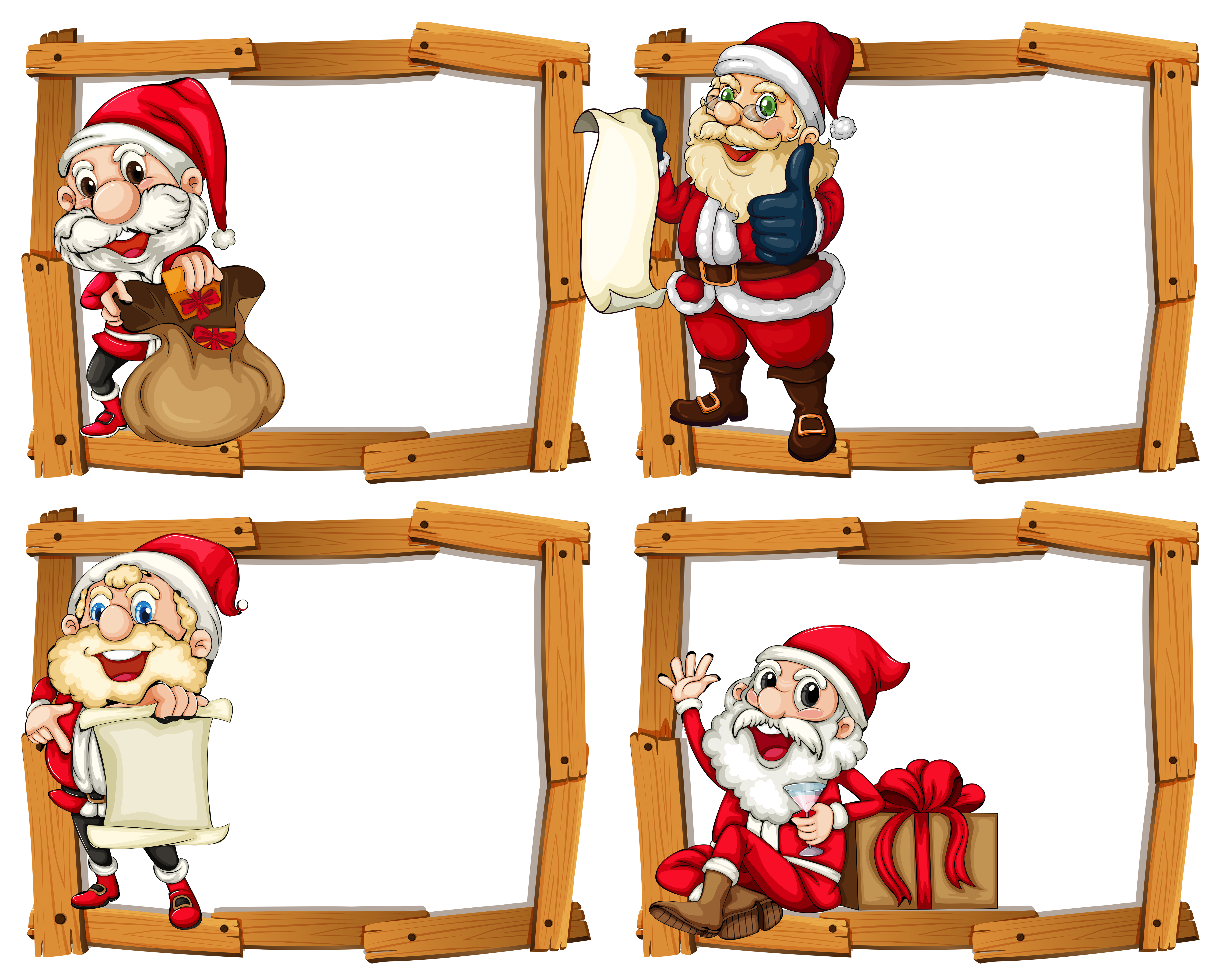 Wooden frame templates with Santa - Download Free Vector ...