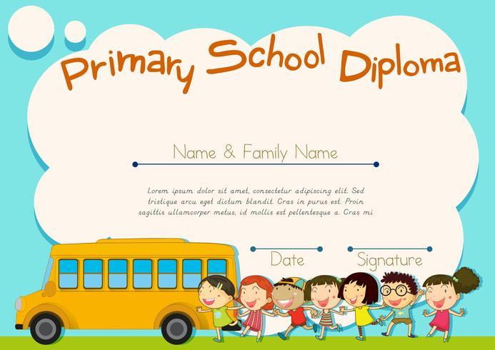 Grundskolans diplom med skolbuss och barn vektor