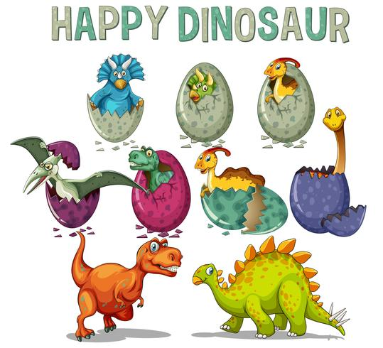 Happy dinosaur with dinosaurs hatching eggs vector