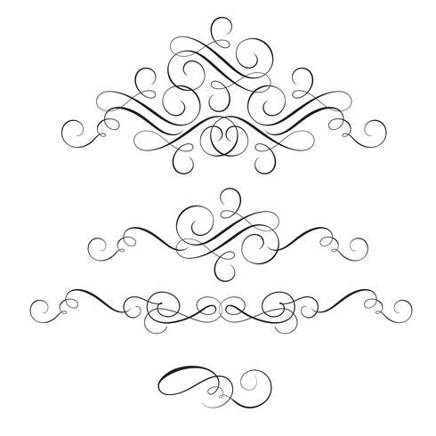 uppsättning av vintage blomstra dekorativa konst kalligrafi whorls för text. Vektor illustration EPS10