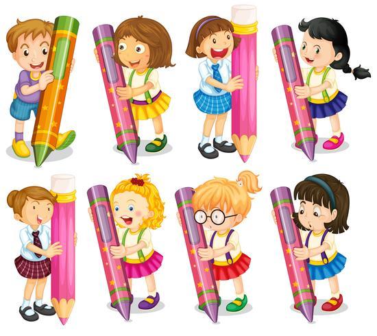 Bambini con le matite