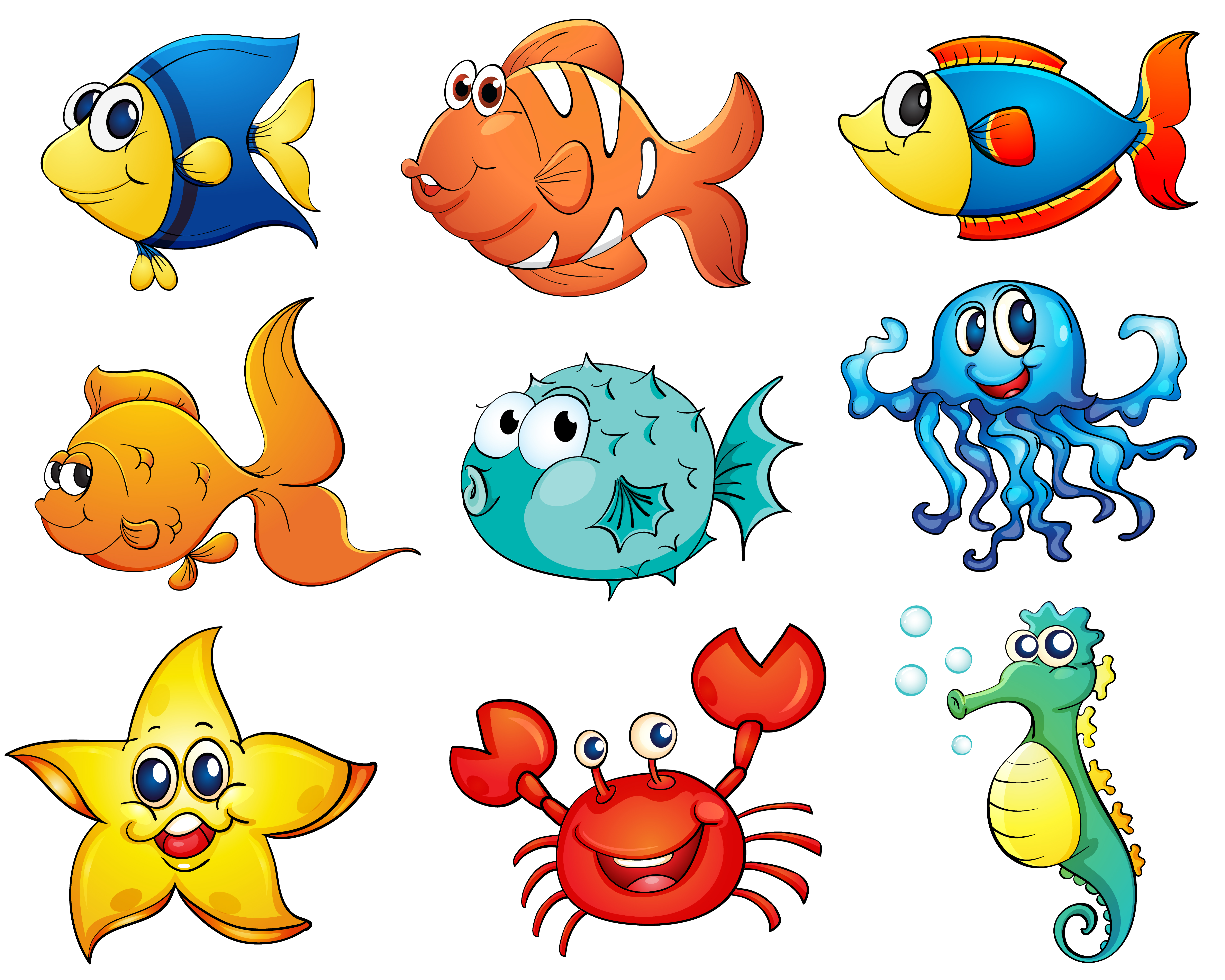 Isolated tropical fish on white - Download Free Vectors ...