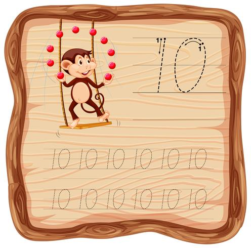 Número diez hojas de trabajo del abecedario
