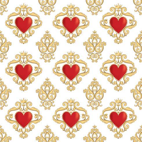 Teste padrão sem emenda do damasco com corações vermelhos decorativos bonitos com coroas. Ilustração vetorial