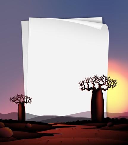Modello di carta con alberi e fiume