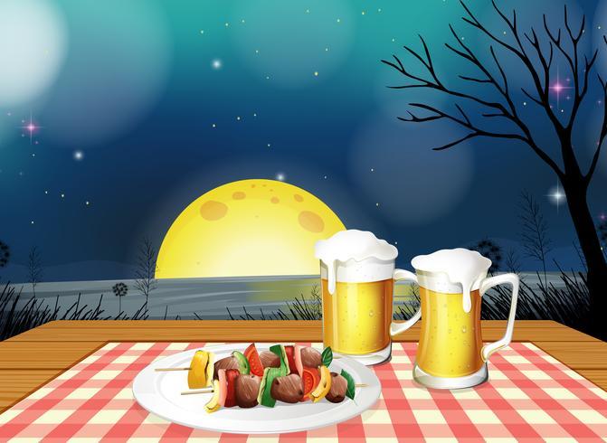 Jantar de churrasco com cerveja gelada