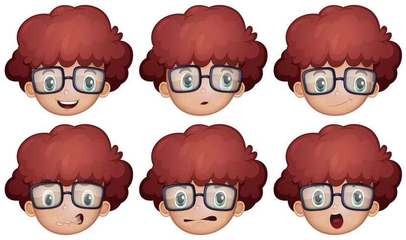 Ragazzo con gli occhiali con diverse emozioni
