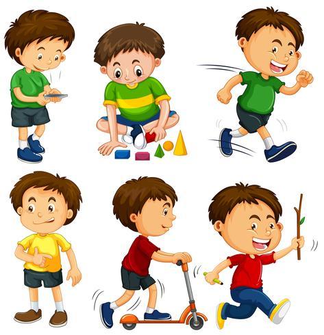 Jungen in sechs verschiedenen Aktionen