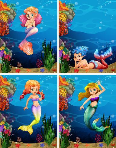 Quatro cenas de sereia nadando no fundo do mar