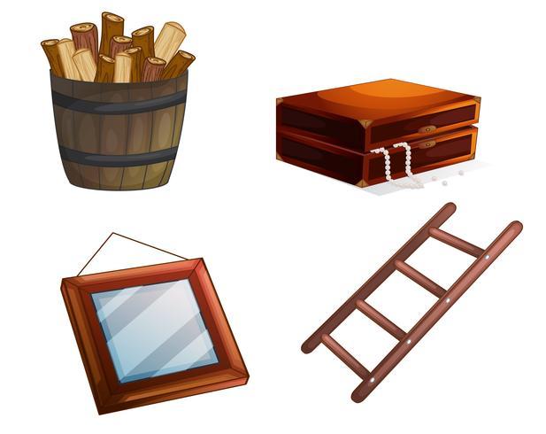 vari oggetti in legno