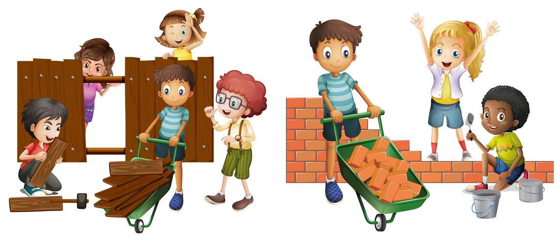 Kinder bauen Backsteinmauer und Holzzaun