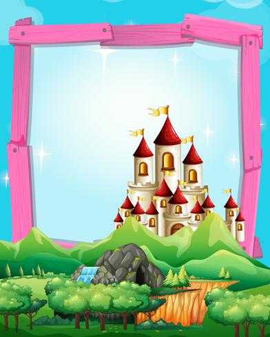 Modello di confine con castello nel bosco