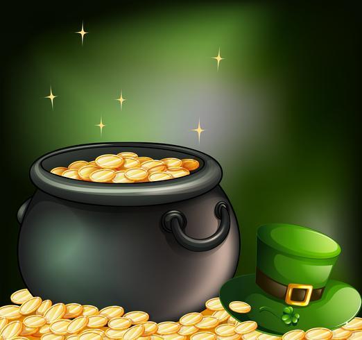 Pièces d'or dans un pot et un chapeau vert