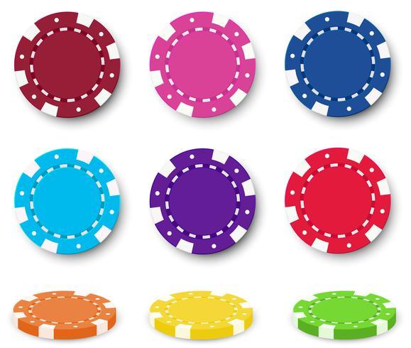 Nine colorful poker chips