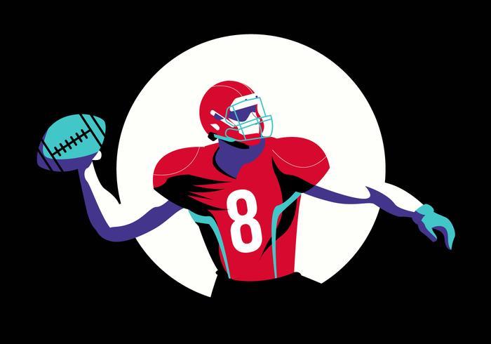 Pose heroica fútbol americano personaje Vector ilustración plana