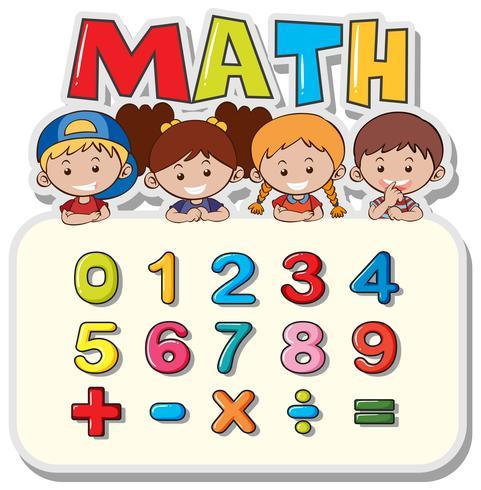 Planilha matemática com crianças e números