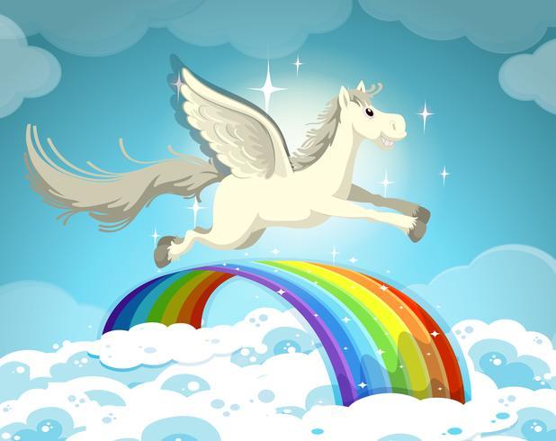 Pégase volant au-dessus de l'arc-en-ciel vecteur