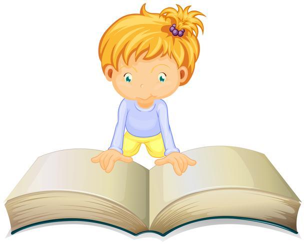 Kleines Mädchen, das vom großen Buch liest