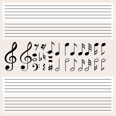 Music notes and blank scales