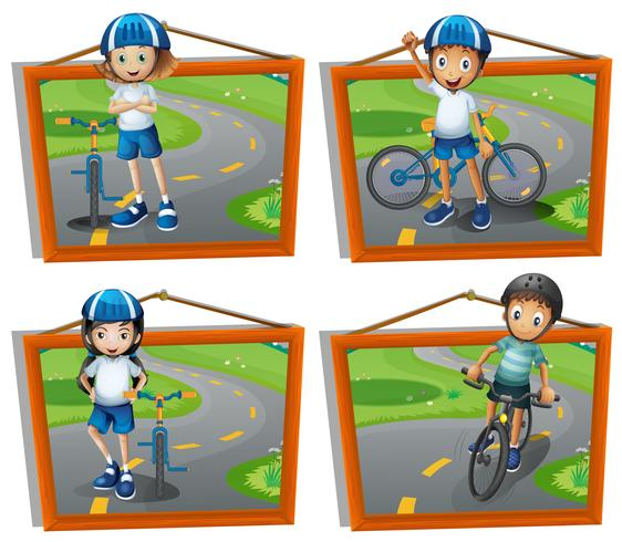 Four frames of kids riding bicycle