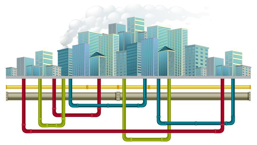 Sistema de tuberías de agua subterránea