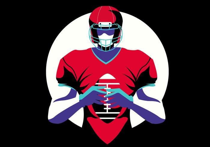 Illustrazione piana di vettore del giocatore di football americano eroico