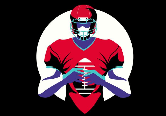 Heroic American Football Player Vector Flat Illustratie