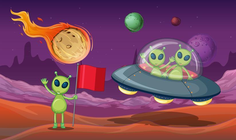 Aliens UFO in de Melkweg vector