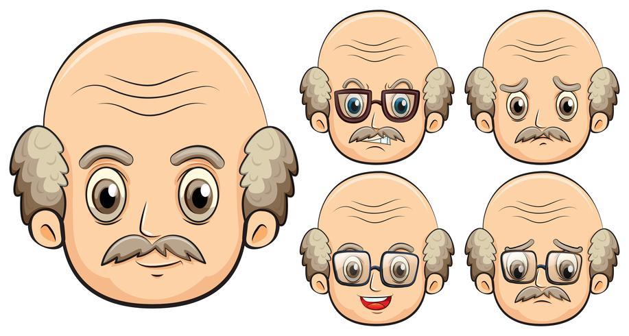 Old man with five different emotions
