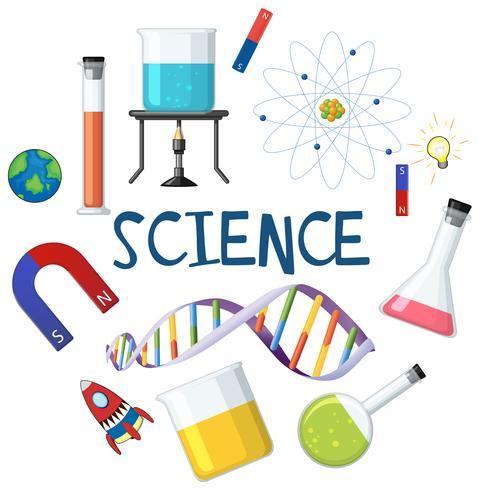 Wissenschaft und Chemiker Element auf weißem Hintergrund