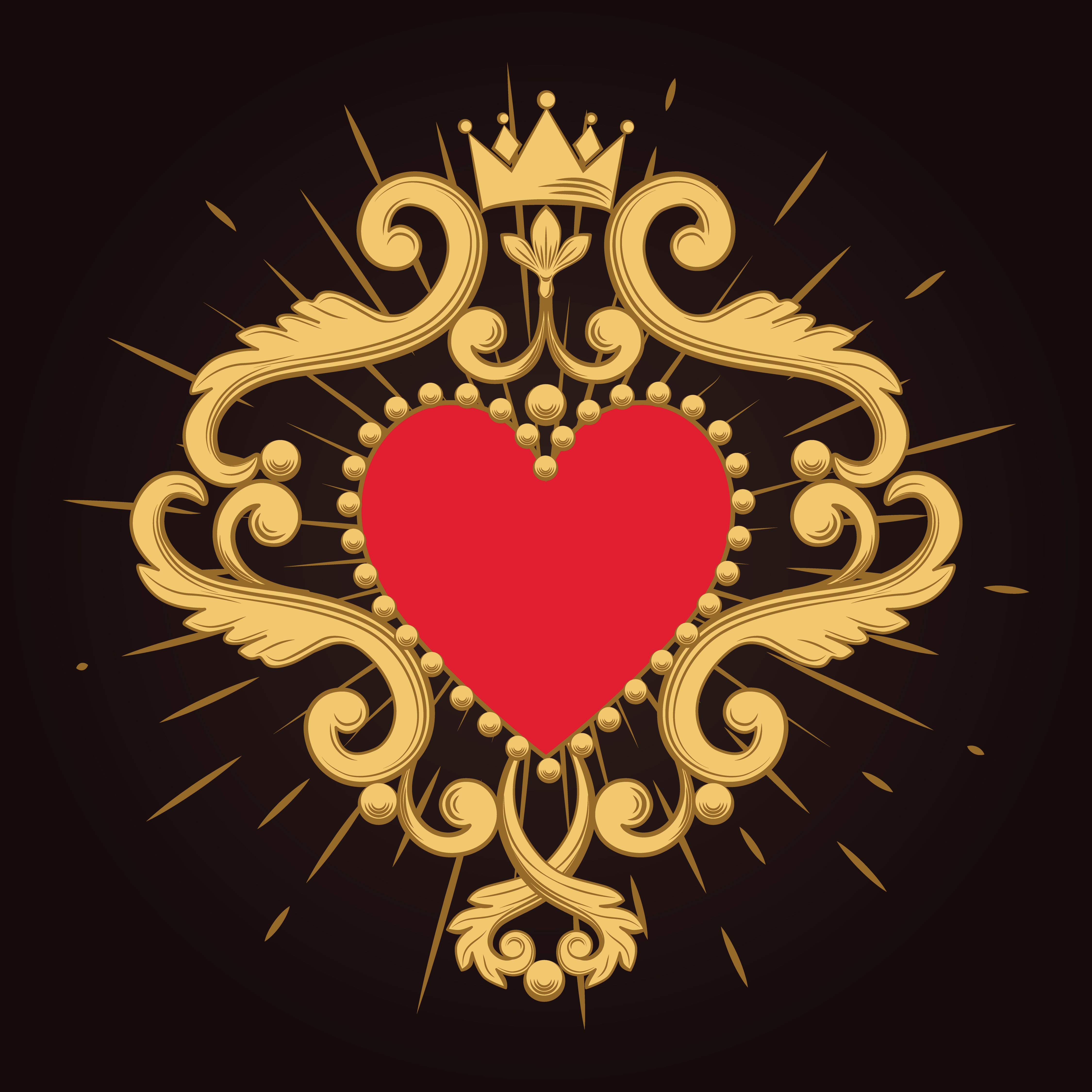 Vintage Ornamental Design Elements: Beautiful Ornamental Red Heart With Crown On Black