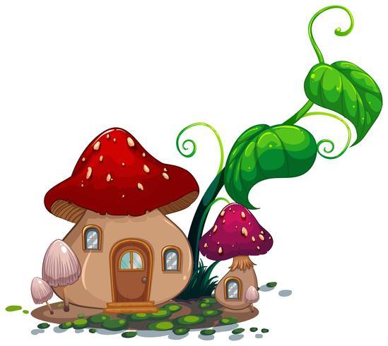 Casa de cogumelo com folhas verdes
