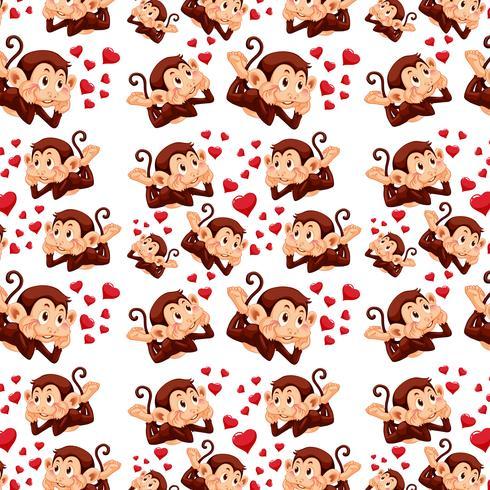 Leuke aap op naadloos patroon
